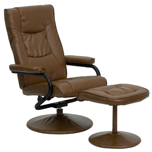 Flash Furniture Contemporary Palimino Leather Swivel Recliner and Ottoman with Leather Wrapped Base