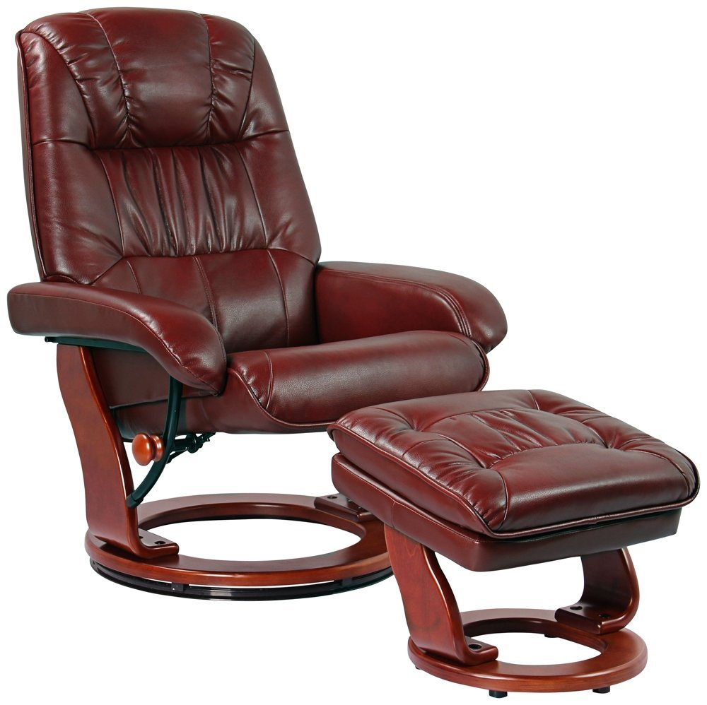 Kyle Ruby Faux Leather Swivel Recliner with ottoman