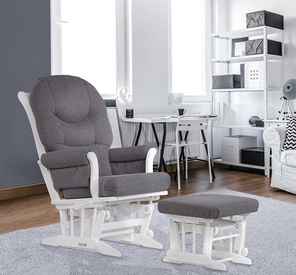Dutailier Sleigh Glider-Multiposition Recline and Ottoman Combo White Dark Grey